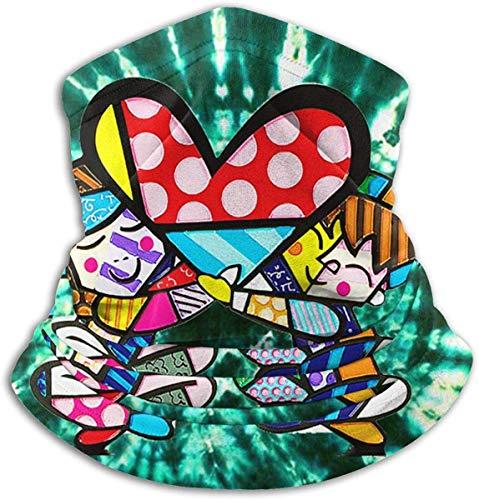 Unisex Romero-Britto Corazones inspirados Fleece de invierno Calentador de cuello Polainas Banda para el cabello Tubo para clima frío Mascarilla Bufanda térmica Cuello exterior Protección UV Cubierta de fiesta Negro