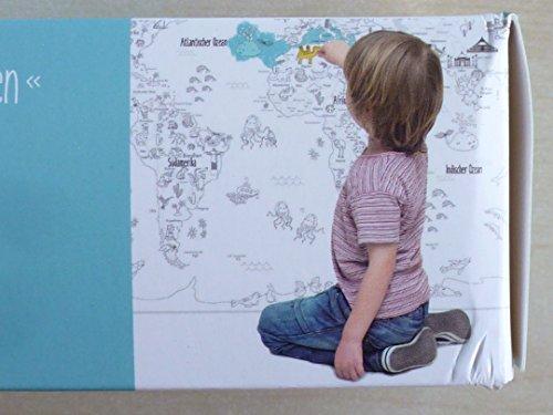 Cool WU985829, RIESEN Lernposter zum Ausmalen, 100 x 70 cm, inkl. Buntstifte, Anspitzer und Radiergummi, für kleine und Grosse Entdecker, Weltkarte mit Tieren und Wahrzeichen