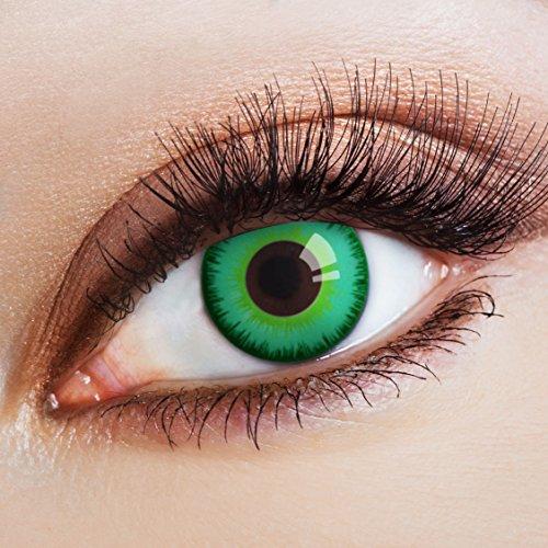 aricona Kontaktlinsen - Magisch grüne Kontaktlinsen Farblinsen ohne Stärke - Farbige Kontaktlinsen für Karneval, Fasching, Cosplay, 2 Stück