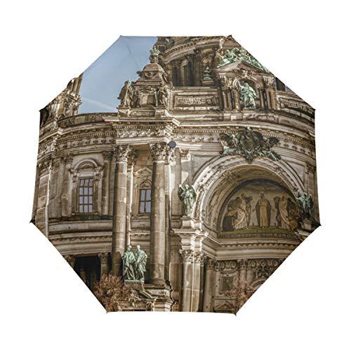 MALPLENA Malpley Berlin Cathedral 3-Fach automatischer offener Regenschirm tragbar?Passt Herren/Damen/Geschenk