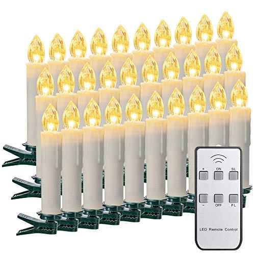 ILEBYGO 30er Kabellos LED Kerzen Lichterkette Kerzen Weihnachtskerzen Weihnachtsbaum Kerzen mit Fernbedienung
