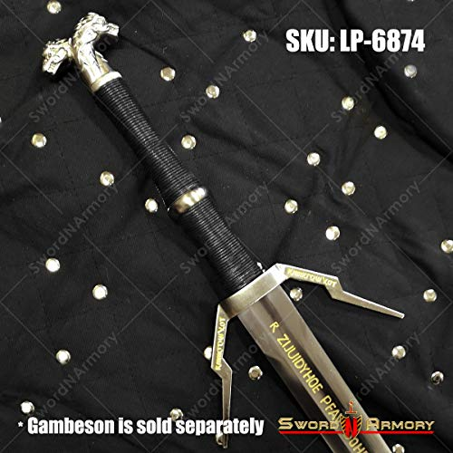 Munetoshi Limited 46' Geralt Silver Sword Monster Slayer Replica with Engravings