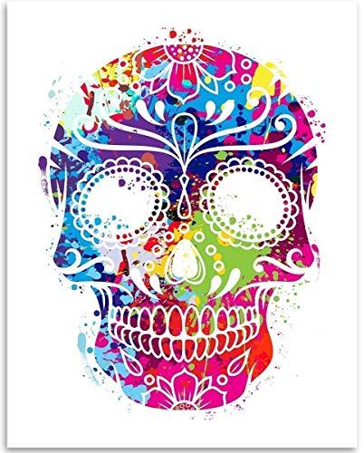 Watercolor Sugar Skull - Day of the Dead - 11x14 Unframed Art Print - Great Dia de los Muertos Decor and Gift Under $15
