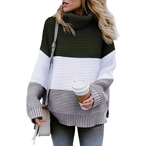 FANGJIN Women Sweaters for Winter Chunky Knit Plus Size Sweater for Women Turtleneck Loose Jumper Tops Ladies Tops Scarf Women