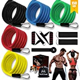 Resistance Bands Set,Workout Bands for Men & Women,Stackable Up to 150 lbs,Home Gym Equipment Dumbbell Set Partner, Perfect for Resistance Training, Physical Therapy, Home Workouts …