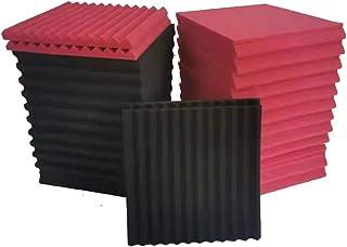 """52 پانل فوم آکوستیک عایق صدا پنبه 12 """"X12"""" X1 """"مناسب برای کلیسای اتاق لنگر اتاق آواز خانه تئاتر. سیاه / شراب قرمز"""