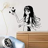 LOESHD Sticker Mural Anime Fille Sticker Muraux Cheveux Longs Manga Papillon Pépinière Enfants Chambre Filles Chambre Art Décor À La Maison en Vinyle Fenêtre Autocollants Murale 42x53 cm