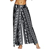 Nuofengkudu Mujer Hippie Largo Pantalones Dividir Pata Ancha Flores Estampados Sueltos Elegantes Comodos Thai Yoga Pants Verano Playa Vacaciones(Negro Elefante,L/XL)