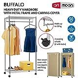 Artmoon Buffalo   Schwerlast Kleiderschrank mit 2 Ablagen und Hängestangen   Stoffschrank auf Rollen   Einfache Montage   20 Kleiderbügel und 50 kg Lasten   Abmessungen: 75x45x150 cm - 5