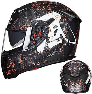 Leoie Men Full Face Motorcycle Helmet Flip-up Dual Lenses Antifogging Motorbike Riding Helmet Matte Black/Wind XXL
