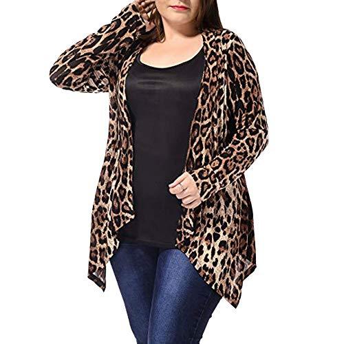 Linlink Mujer más tamaño de Leopardo de impresión asimétrica Abierta Frente Chaqueta de Cardigan de Moda