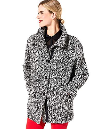 comma Damen Mantel mit schwarzweißem Bouclemuster white tweed 42