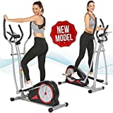 elifine Elliptical Machine Magnetic Elliptical Trainers Machines with LCD Monitor Smooth Quiet Driven Pulse Rate Grips Elliptical Exercise Machine for Home Gym Office Workout (Dark Black)