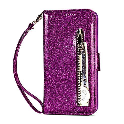 Miagon für Samsung Galaxy S20 Ultra Glitzer Reißverschluss Hülle,Bling Wallet Leder Handyhülle Multifunktion Geldbörse Magnetisch Standfunktion Flip Etui Case Cover