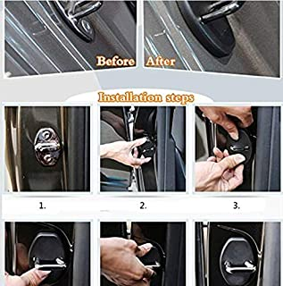 VIQILANY 4PCS Stainless Steel Door lock Striker Cover Door Striker Cover for Volkswagen VW Das Auto Tiguan Santana Jetta L...