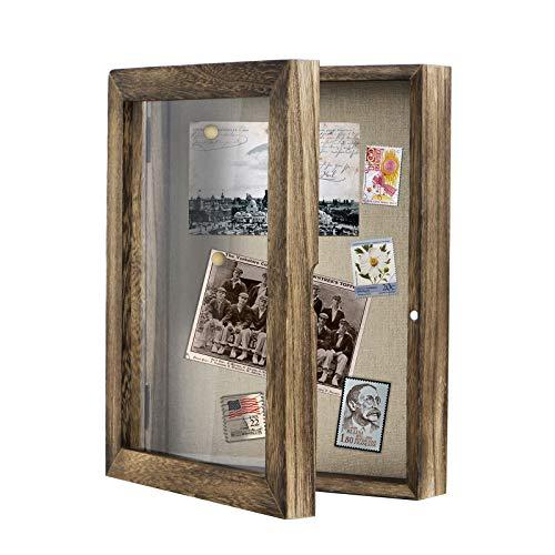 Love-KANKEI Shadow Box Frame 8x10 Shadow Box Display Case with Linen Back Memorabilia Awards Medals Photos Memory Box Carbonized Black