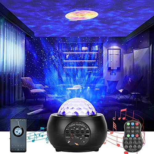 JAJALUYA Sternenhimmel Projektor Lampe wiederaufladbar LED Nachtlicht Galaxy Projektor mit Bluetooth Lautsprecher Und Fernbedienung für Kinder Erwachsene Zimmer Dekoration Party Geburtztag