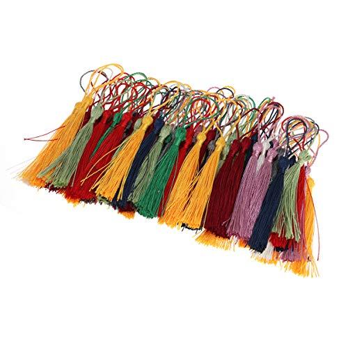 NUOBESTY - 50 borlas Suaves Hechas a Mano, marcapáginas o Manualidades, Joyas, Llavero, Bolsa, marcapáginas, decoración (Color Aleatorio)