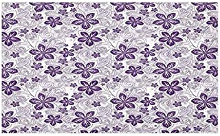 Lunarable Violet Doormat, Swirls and Dots Floral Arrangement with Abstract Composition Geometric Elements, Decorative Polyester Floor Mat with Non-Skid Backing, 30