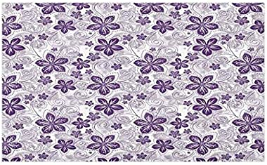 Lunarable Violet Doormat, Swirls and Dots Floral Arrangement with Abstract Composition Geometric Elements, Decorative Polyest