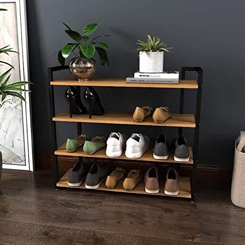 BFHJG Zapatero The Simple Assembly 4 Niveles Zapatero Zapatero con asa para Zapatos Gabinete de Almacenamiento Organizador para el hogar Zapatos apilables Zapateros-Negro