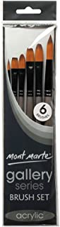 Mont Marte Gallery Series Acrylic Brush Set, 6 Piece. Selection of Synthetic Hair Paint Brushes Suitable for Acrylic Painting