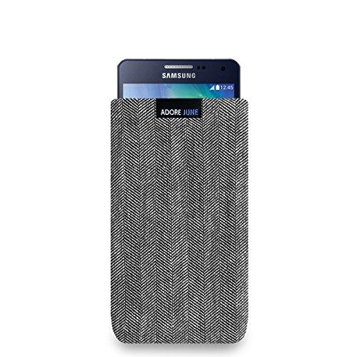Adore June Business Tasche für Samsung Galaxy A5 2014 Handytasche aus charakteristischem Fischgrat Stoff - Grau/Schwarz | Schutztasche Zubehör mit Bildschirm Reinigungs-Effekt | Made in Europe