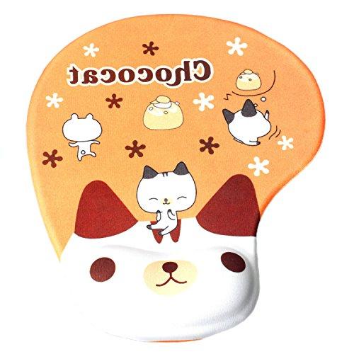 TUKA Handgelenkauflage Mouse pad Ergonomische, mit Gel Gefüllte Handgelenkunterlage, Tier Motiv Gel Mauspad Handauflage, mit Lustigem Cartoon Motiv, TKC5100 chocolatecat