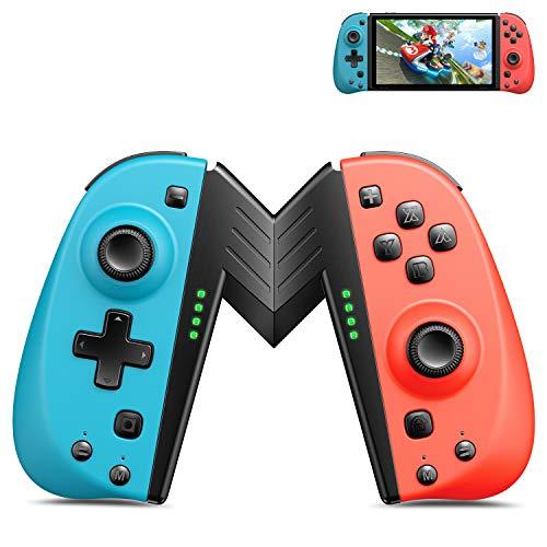 Wireless Controller für Nintendo Switch, 2er Set Alternative für Joy Con Neon Rot Neon Blue Controller kompatibel für Nintendo Switch Konsole als Ersatz für Joy Con Controller