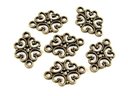 12 Verbinder in Vintage bronze von Vintageparts, DIY-Schmuck