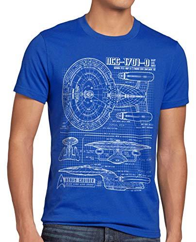 style3 NCC-1701-D Cianotipo Camiseta para Hombre T-Shirt Fotocalco Azul Trek Trekkie Star, Talla:S, Color:Azul