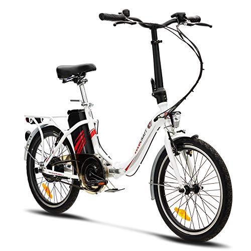 VecoCraft Nemesis Elektro Klapprad,E Bike 20 Zoll,E-Folding Bike mit ausziehbarer Baterrie 36V 7.8AH, 250W Motor, tragbares E-Bike Klapprad ebike Herren e Bike Damen mit niedrigem Rahmen, weiß