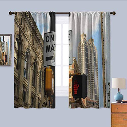 City Kitchen Curtain, Curtains 45 inch Length One Way Sign in Front of Atlanta Skyline Downtown Apartments Urban View 2 Panel Sets Ivory Black Pale Blue W63 x L45 Inch