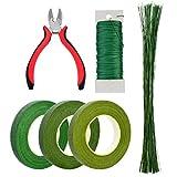 Bantoye 6 Pcs Floral Arrangement Tool Kit, 4.7' Wire Cutter, 3 Rolls Floriculture Paper Tapes 26 Gauge Floral Wire & 14 Inch Floral Stem Wire for Bouquet Stem Wrap Florist