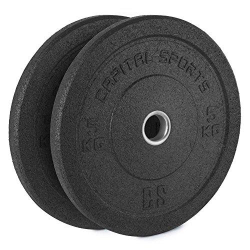CapitalSports Renit Hi Temp Bumper Plates Discos de Pesa 2 x 5 kg Weight Drops (Centro de Aluminio 50,4 mm, Material de Goma, no daña el Suelo, Ideal Aumento Peso Barras largas y olímpicas)