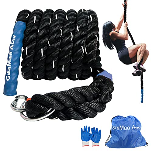 GaaMaa Actv Gym Climbing Rope for Fitness with Metal Carabiner -1.5 Inch Diameter Battle Rope for Training- Battle Rope for Kids Play Ground - Workout Fitness Rope with Gloves and Bag (20 Feet)