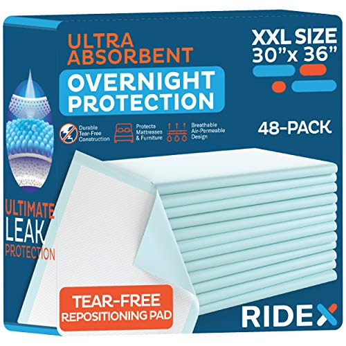 Incontinence Bed Pads [48-Pack] Disposable Ultra-Heavyweight Super Absorbent & Waterproof, Patient Repositioning