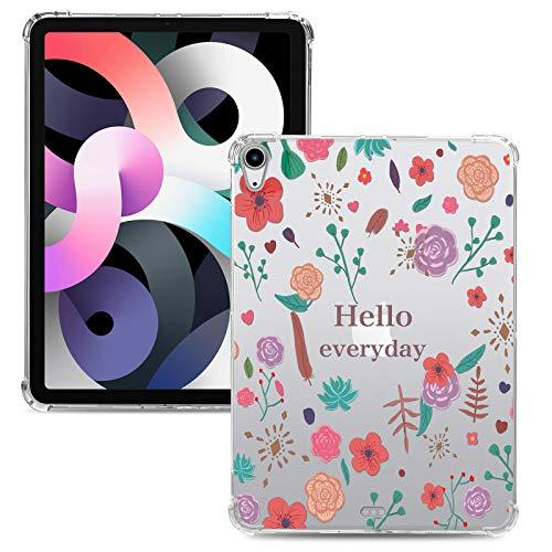 iPad air4 ケース 第4世代 iPad 10.9インチ 2020 カバー 背面 クリア おしゃれ 花柄 耐衝撃 アイパッド エアフォー 10.9 2020 ケース かわいい 四角保護 薄型 軽量 透明 柔軟TPU 上質(花柄)