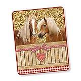 Good Morning! Wohndecke Kuscheldecke 6212 Goldy Pferde Herz Rot 130 cm x 160 cm