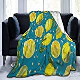 gfhfdjhf Fleece Decke Vintage Frucht Zitronengelb Ultraweiche Mikrofaser Bettdecke 50'x 40'