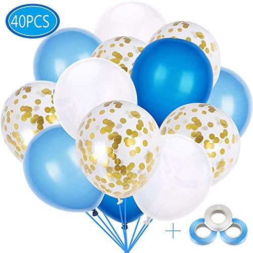 40 Stück Luftballons Blau mit Konfetti Ballons Gold für Hochzeit Geburstagsdeko Babyparty Junge Dekoration Valentinstag (4 Farbe)