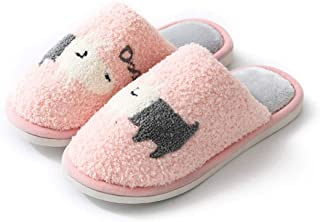 Winter Slip On Slippers Faux Fur Warm,Women Men Couple Shoes Winter Home Slippers, Cartoon Non-Slip Warm Indoors Bedroom F...