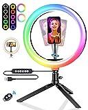 Luz de Anillo LED con Trípode, BlitzWolf 10.2' RGB Anillo de Luz con Soporte de Móvil y Control Remoto Bluetooth, Aro de Luz con 7 RGB Colores Regulable, 10 Niveles de Brillo y 3 Modos de Luz
