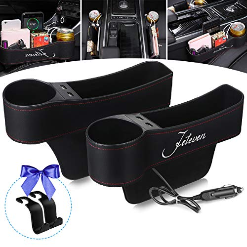 Jeteven Car Seat Gap Filler, Multifunctional Car Seat Organizer with Cup Holder, 2 USB Charging, Car Console Side Organizer for Cellphones, Wallets, Keys, Coin, Cards, Sunglasses (2 Hooks Included)