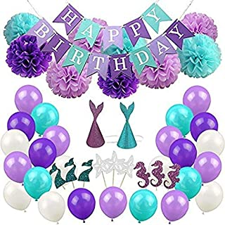 Beauenty Mermaid Party Supplies & Party Decorations for Girls Birthday Party, Baby Shower, Bridal Shower Decorations 76 Pa...
