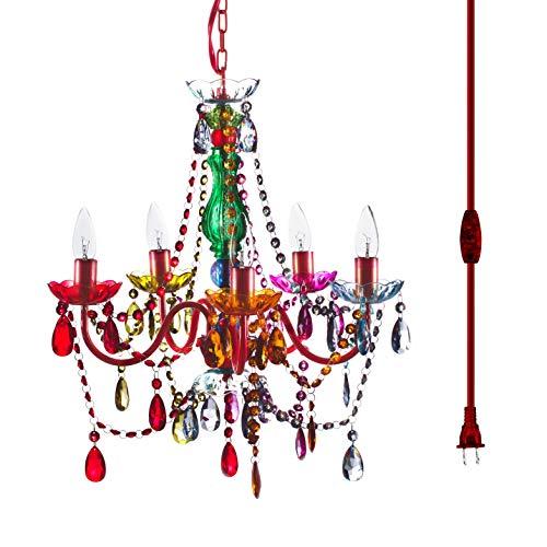 La lámpara de araña original Gypsy Color 5 luces multicolor con marco de metal rojo con cristales acrílicos multicolor.