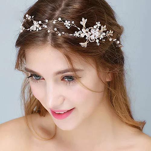 Deniferymakeup - Diadema da sposa a motivo floreale con perle e strass, cerchietto fatto a mano, ideale per matrimonio