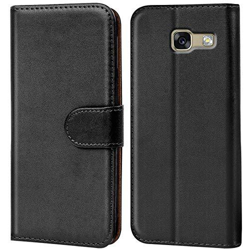 Verco Handyhülle für Samsung A3 (2017) Hülle, Schutzhülle für Samsung Galaxy A3 2017 [A320] Tasche PU Leder Flip Hülle Brieftasche - Schwarz