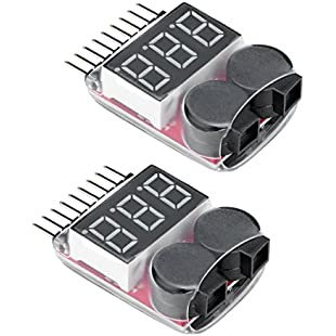 Virhuck 2pcs 1s-8s RC Lipo Battery Tester Low Voltage Alarm Buzzer Indicator Checker with LED, Li-ion / LiMn / Li-Fe / Lipo Battery Tester Low Voltage Buzzer Alarm, Remote Control Helicopter Drone Car Battery Tester