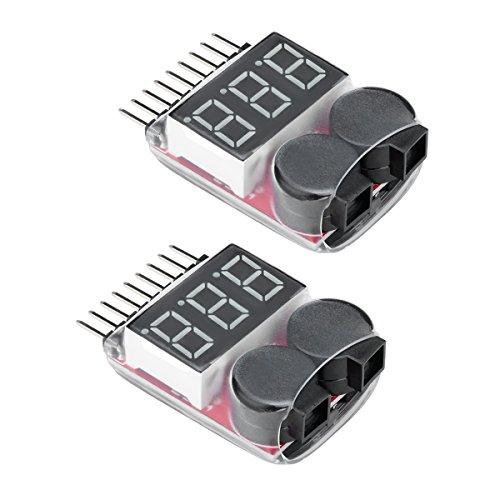 Virhuck 2pcs 1-8S Probador del Voltímetro de la Batería de Litio de RC con el Indicador del LED, Racing Drone / Car Batería Lipo / Li-Ion / LiMn / Li-Fe Alarma del Monitor